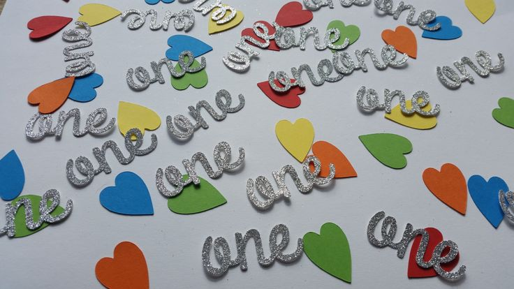 Rainbow hearts & age one table confetti. 1st birthday table confetti, cake toppers, invite fillers. Age 1 birthday party decor by Garlandsandgifts on Etsy