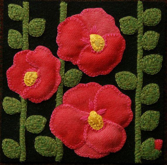 """Apliques de lana BOM PATRÓN y/o KIT """"Malvas"""" 6 x 6 bloque 1 de 24 en lana """"Cuatro estaciones de las flores"""" edredón mesa cama corredor lanas colgando de la pared"""