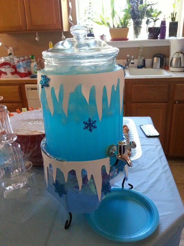 Frozen theme party - beverage container decoration. clever