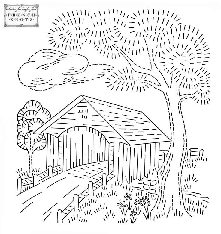 Covered bridge embroidery transfer pattern embroidery for Covered bridge design plans