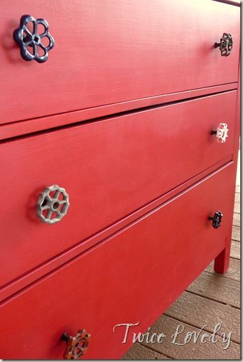 use old spigot knobs as drawer pulls  (find vintage knobs at The Hob Knobbery, an etsy site)--> http://www.etsy.com/shop/TheHobKnobery?ref=si_shop