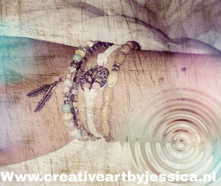 Hippie, Armbandjes met edelstenen, veertjes, tree of life, kralen Www.creativeartbyjessica.nl