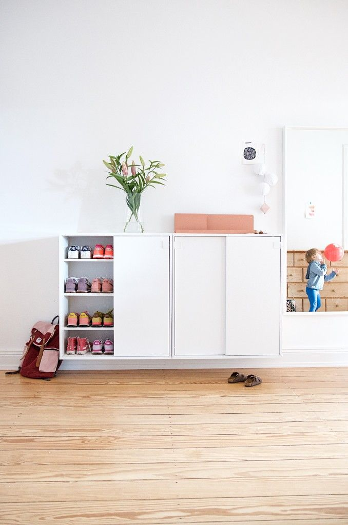 Mackapär. A shoe cabinet brings order to the chaos and the old building.