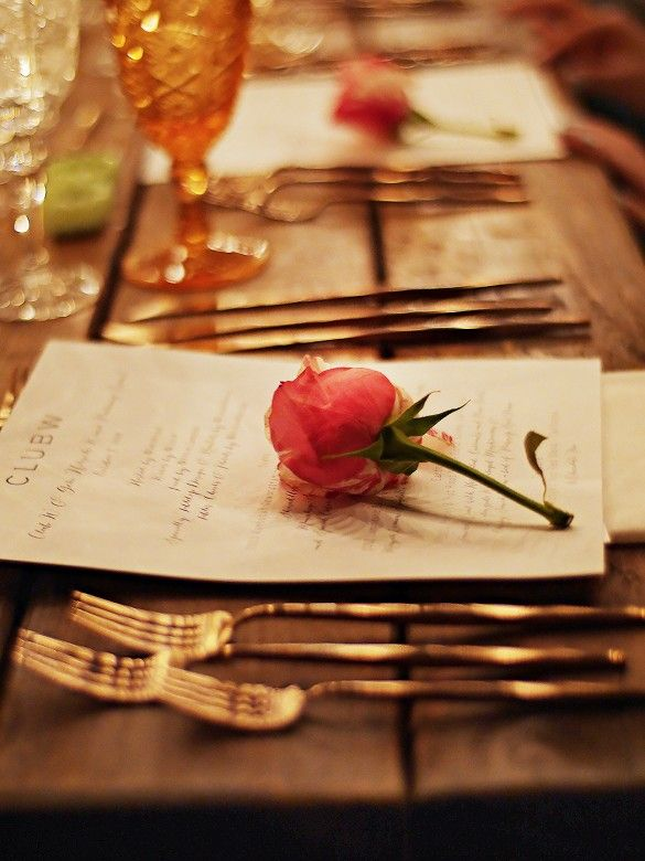 Fall Outdoor Dinner Party // simple setting with rose.