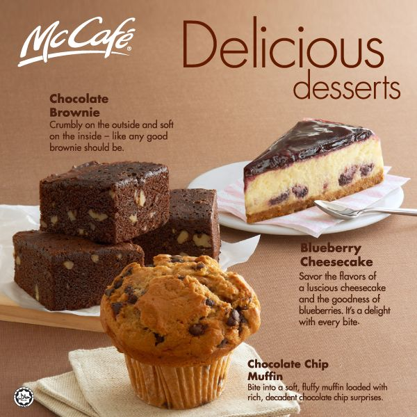 Chocolate Brownie, Blueberry Cheesecake, and Chocolate Chip Muffin - McCafe #McCafe #Chocolate #Brownie #Blueberry #Cheescake #Muffin #McDonalds #McDonaldsarabia