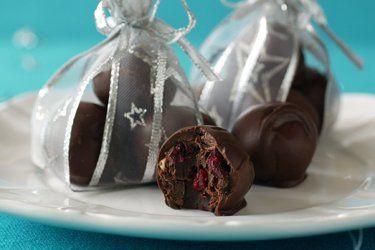 Handmade cranberry and almond chocolates