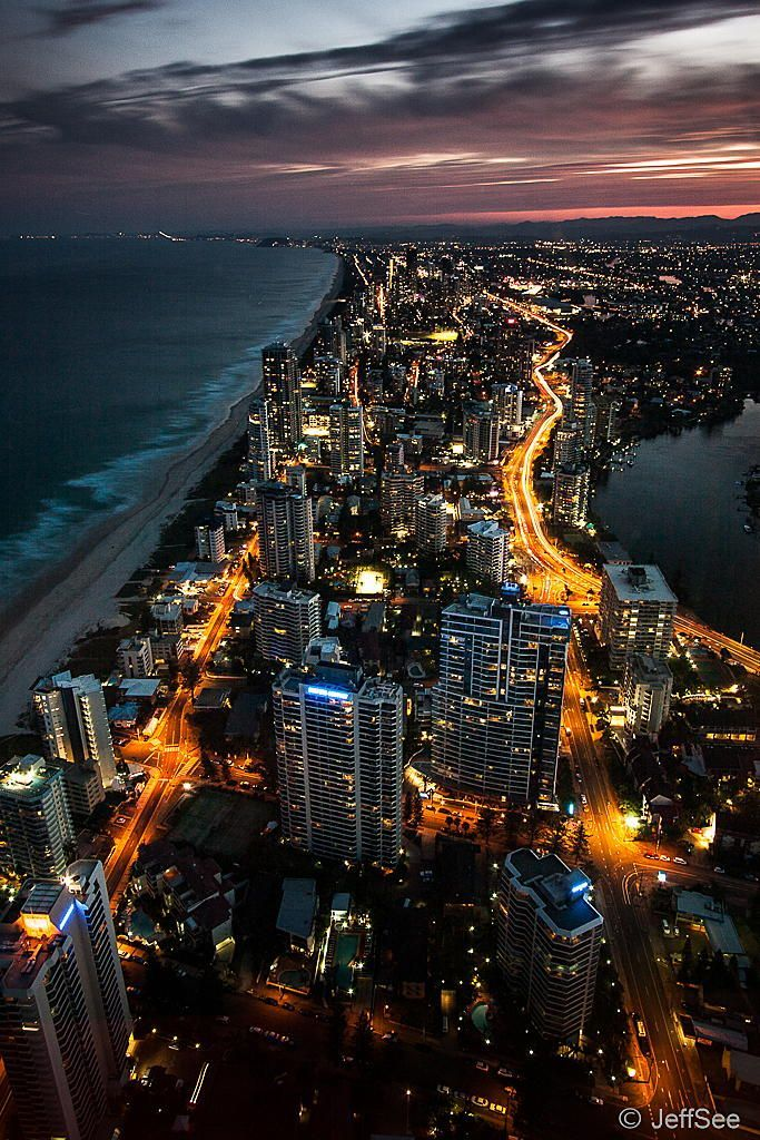 Q1 Tower, Gold coast, Australia  City lights, the coast aaand a gorgeous sky? Love this!!