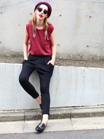 黒サルエル×ベレー帽♡サルエルパンツのコーデ☆スタイル・ファッションの参考に♪