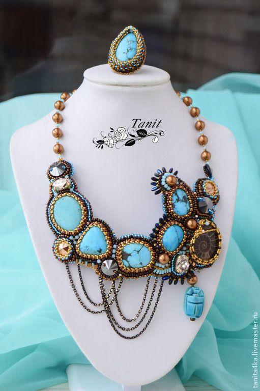 """Комплект с Бирюзой """"Голубой Нил"""".Вышивка бисером.. Handmade."""