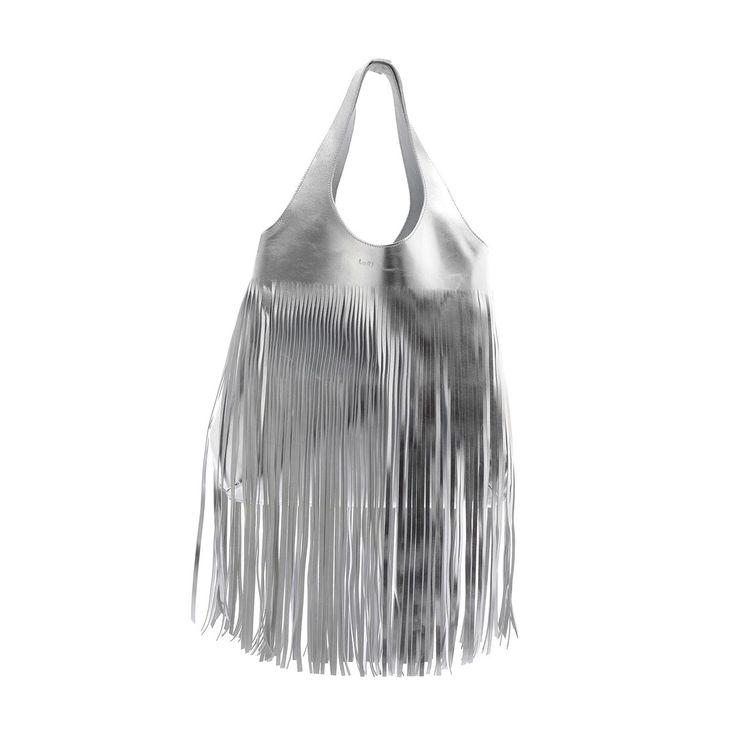 Borsa a spalla in pelle argento, con frange, by Luri Borse.