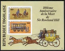 14482 Togo 1979 Rowland Hill imperf m/sheet  (postmen on Centrecycles, Railway coach & Mail coach) unmounted mint SG 1373var