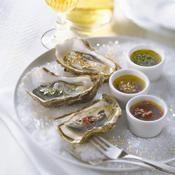 Huîtres fraîcheur aux trois vinaigrettes - une recette Fête - Cuisine