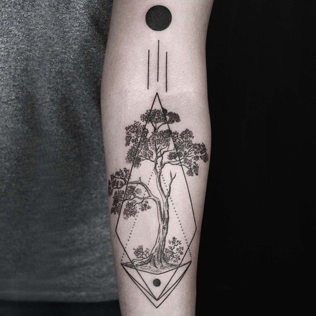 Solar Eclipse / Güneş Tutulması black tattoo ink tree abstract