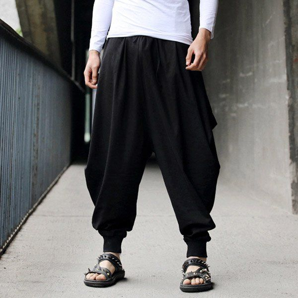 Stylish Lace-Up Solid Color Loose Fit Narrow Feet Men's Cotton+Linen Harem Pants, BLACK, ONE SIZE in Pants | DressLily.com