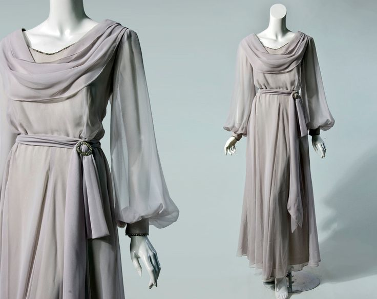 Vintage: 1970's grey chiffon full length gown