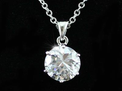 """Κολιέ με Κρεμαστό Κόσμημα Συνθετικό Διαμάντι 4 Καράτια Round Cut """"Riley"""" - memoirs.gr"""