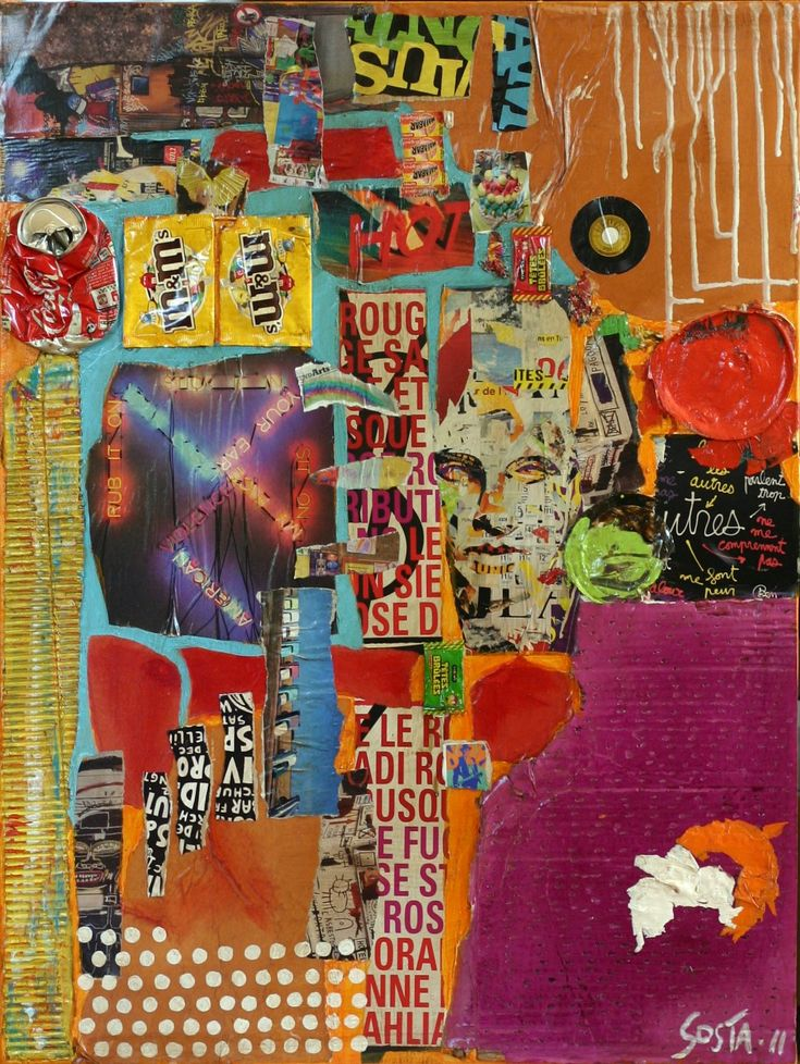 Collage multicolore tableau contemporain hot sophie costa artiste peintre - Tableaux contemporains acrylique vendre ...