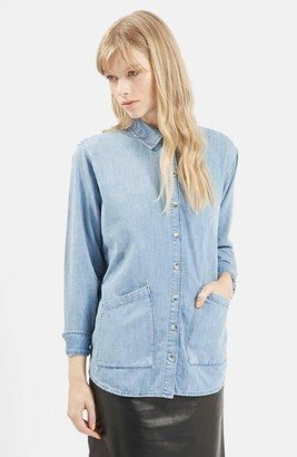 TOPSHOP Boutique Bleached Denim Shirt - Shop for women's Shirt - Light Denim Shirt