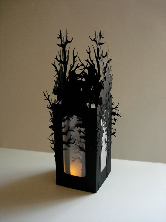 Halloween Luminaries Set of 2 Halloween Decorations - Haunted Forest in Black MADE TO ORDER via Etsy.