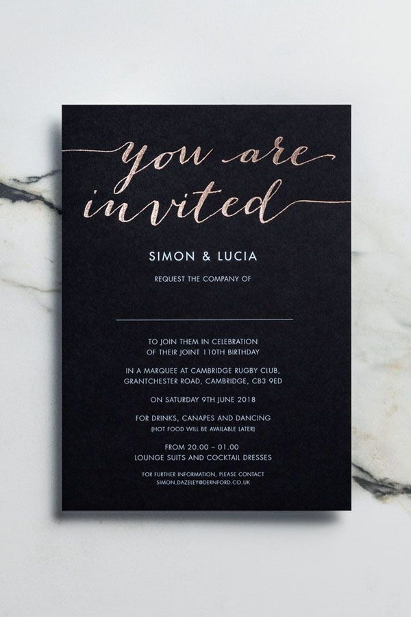 Rose Gold Foil Invitation On Black Card These Stand Out Cards Looked Oh So Sophisticated And Foil Wedding Stationery Cocktail Invitations Foil Invitations