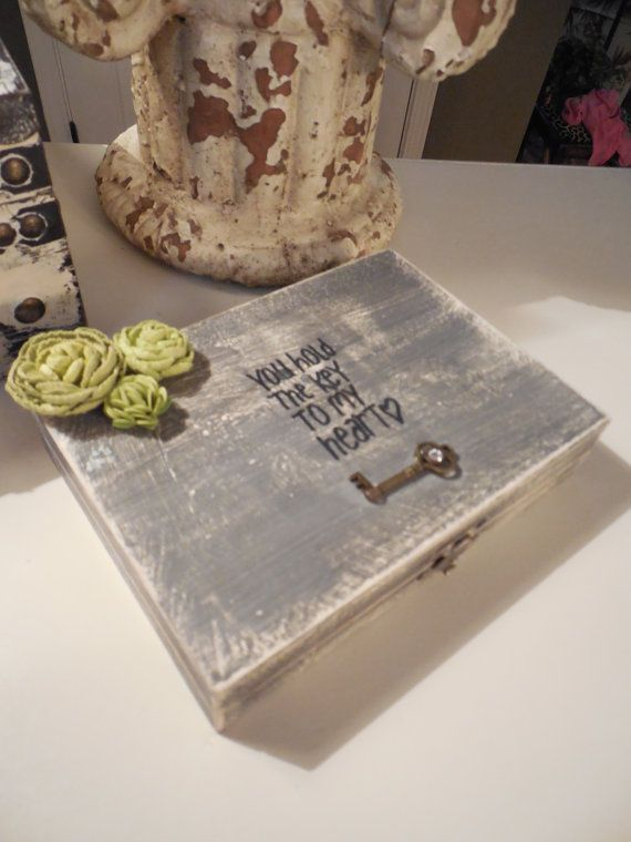 Southern Chic hand painted & distressed , Wedding Ring Pillow, Ring Bearer Box, We Do Box, FOR Rustic Wedding on Etsy, $29.95
