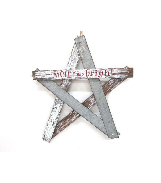 Holiday Cheer Wood Metal Star Wall Decor