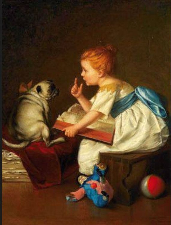 Antique Pug with Girl in White Dress  Print by PawmazingGifts