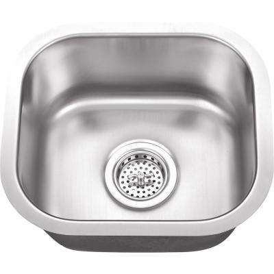 $88 Undermount 15 in. 18 Gauge Stainless Steel Bar Sink in Brushed Stainless