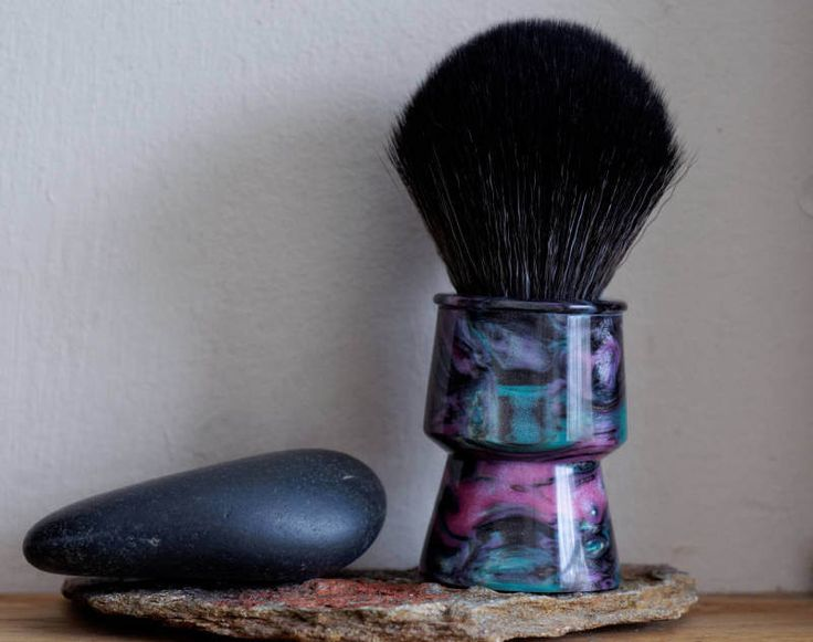 Shaving Brush - Abalone Resin Lathe-Turned Handle with Synthetic BOSS Knot by LoveYourShave on Etsy