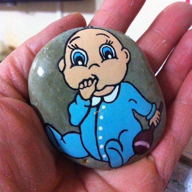 #anne#bebek#doğum#anı#hatıra#bulutbebek#denizbebek #alibebek#muratbebek #sevimli#magnet #taş #boyama