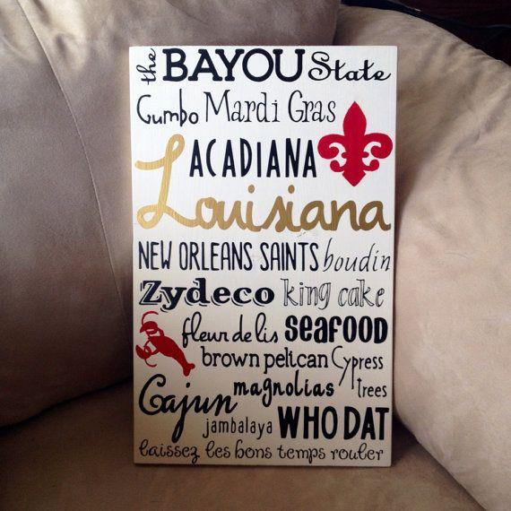 Louisiana Subway Art Cajun Typography Painting in Ragin Cajun paint colors! by RusticMenagerie