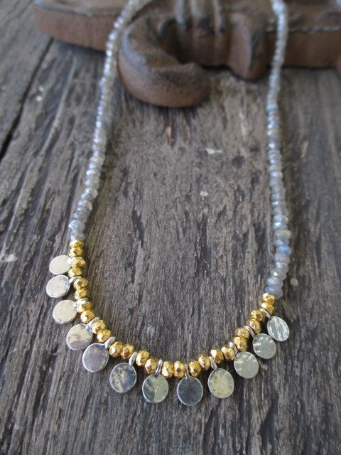 Faceted gemstones in the most perfect neutral color with fine silver and gold vermeil beads. Easy, breezy everyday necklace. Measures 16 long.