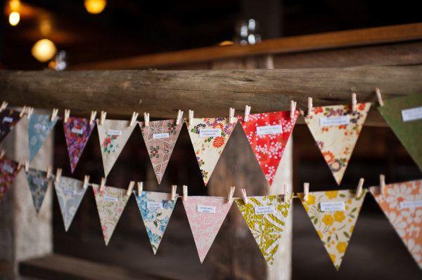 guirlande de fanions pour plan de table mariage
