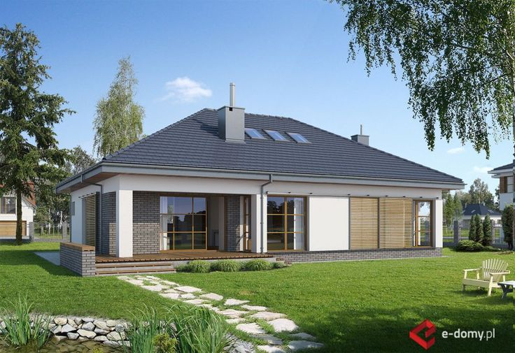 E-131 Prosty parterowy dom z dwustanowiskowym garażem w jednej bryle - E-DOMY.pl Projekty domów jednorodzinnych, piętrowych, energooszczędnych.