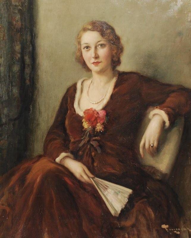 Fernand Toussaint - Jeune femme à l'éventail
