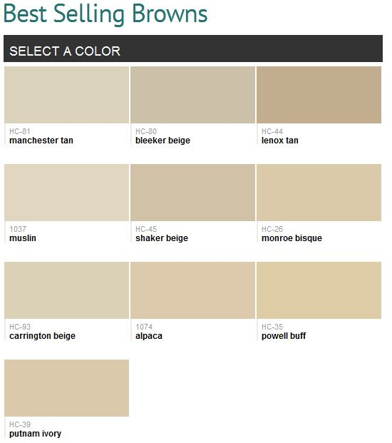 Best selling browns (Benjamin Moore)