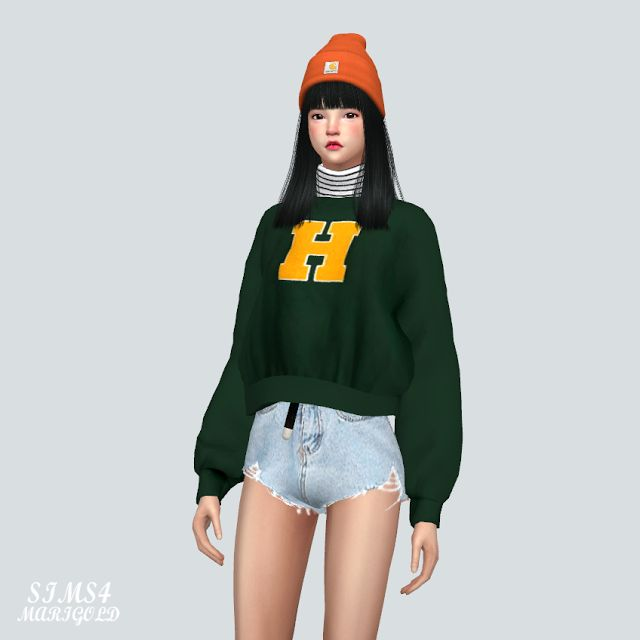Sims 4 CC's - The Best: Sweatshirt With Turtleneck by Marigold
