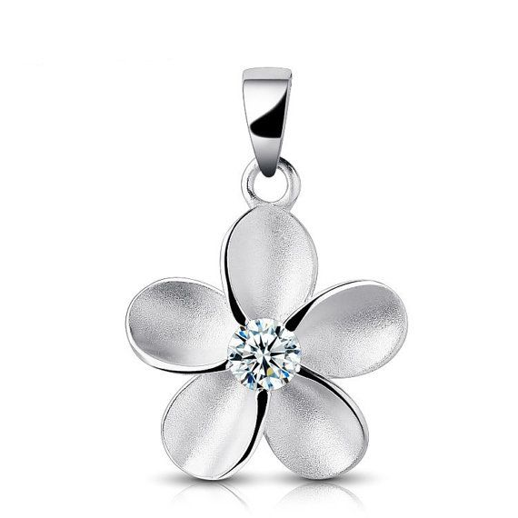 Sterling Silver Zircon Pendant Style 14 Lovely Flower by ATHiNGZ, $7.99