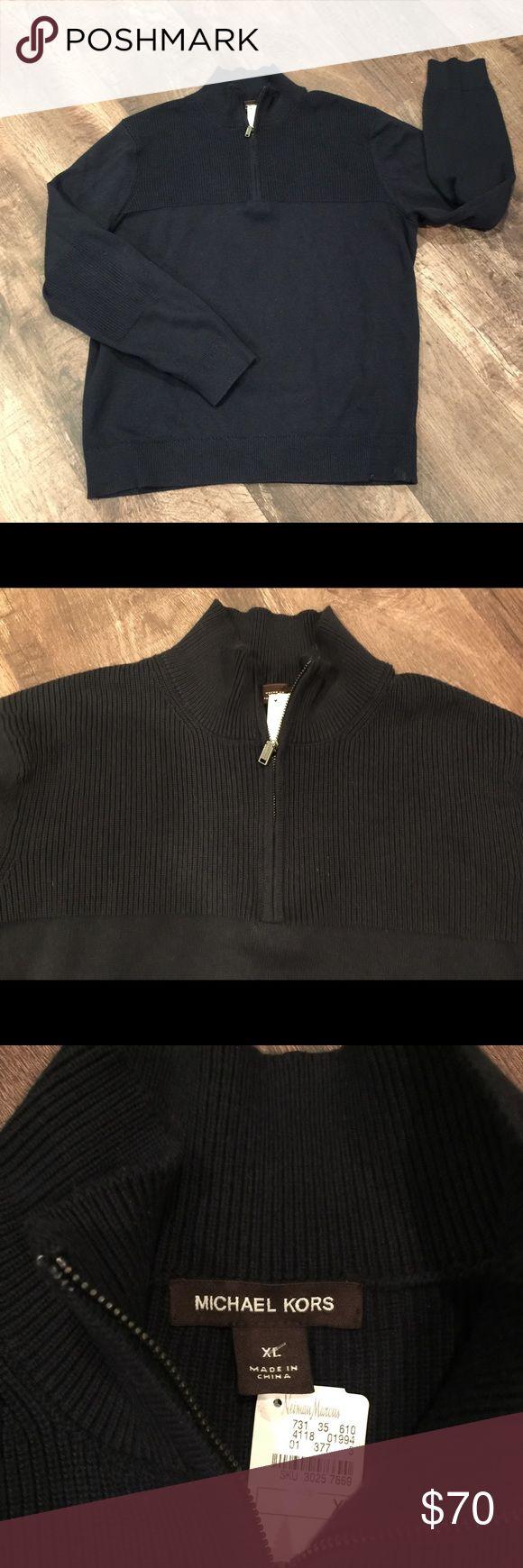 Men's half zip sweater (NWT) Michael Kors half zip navy blue sweater with a knit elbow patch. Michael Kors Sweaters