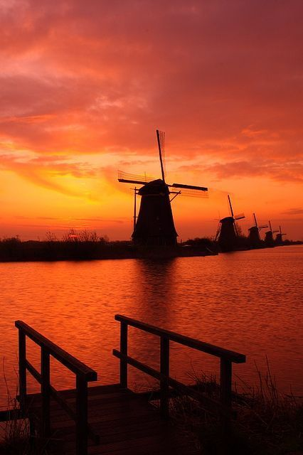 Sunrise - Windmill in Kinderdijk, South Holland, Netherlands #windmills #Holland #travel