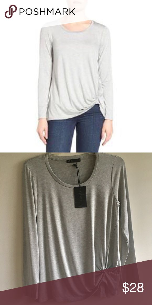 """Gibson Knotted Long Sleeve Tee Scooped neck, long sleeves, super comfortable! 95% rayon, 5% spandex. Approx. 23"""" length. Petite sizes fit women 5'4"""" and under. Gibson Tops Tees - Long Sleeve"""