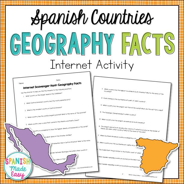 spanish countries geography facts internet scavenger hunt spanish speaking countries. Black Bedroom Furniture Sets. Home Design Ideas