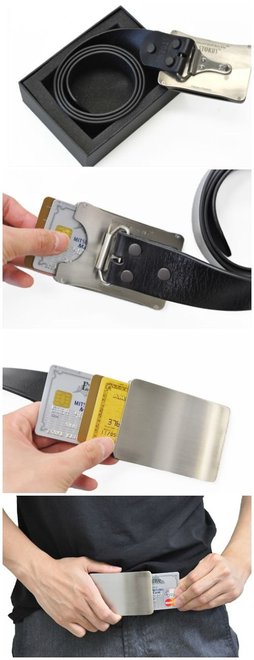 The Smart Belt Buckle is a unique alternative to carrying a wallet. It features a hidden storage chamber for holding up to 3 credit cards plus cash inside.