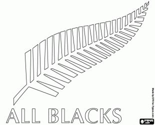 printable coloring pages of ferns | ... national rugby team, All Blacks. Emblem, the silver fern coloring page