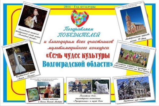 Интерактивный плакат команды Group (4G) Семь чудес культуры Волгоградской области.  Посетители детской библиотеки своими кликами выбрали семь необычных артефактах малой родины.