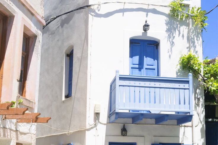White house with blue shutters on Nisyros island