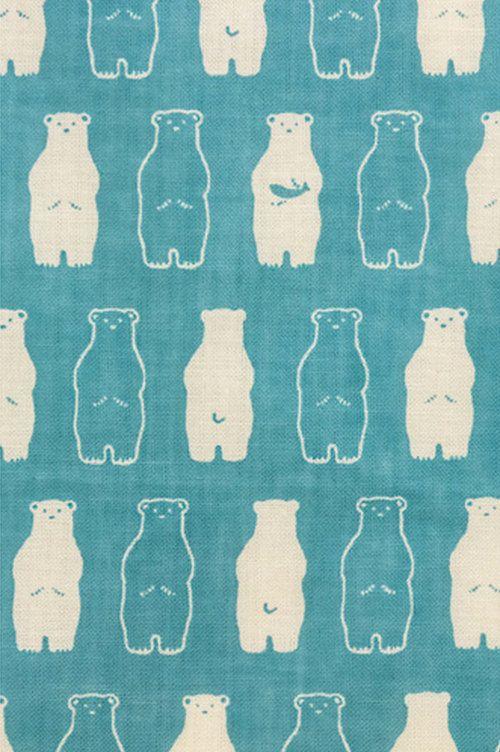 Japanese Tenugui Towel Cotton Fabric, Kawaii White Bear, Polar Bear, Animal Pattern, Wall Art Hanging, Gift Wrapping, Headband, Scarf, h315
