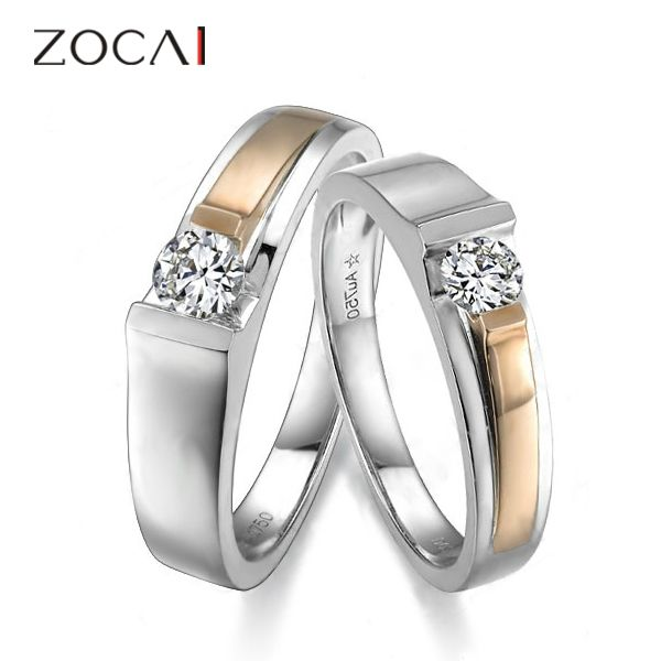 ZOCAI PERFECTION 0.41 CT I-J / VS DIAMOND HIS AND HERS WEDDING BAND RINGS SETS 18K WHITE ROSE DUAL COLORED GOLD