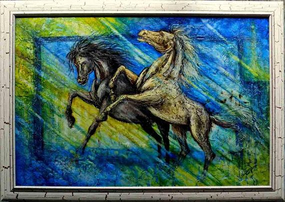 Decorative oil painting on canvas  Running horses