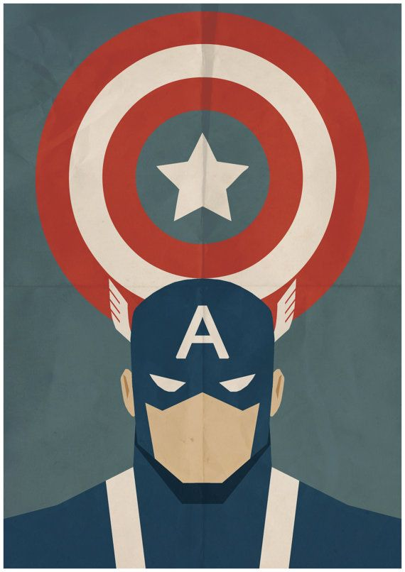 Captain America - Minimalist Retro Poster, Movie Poster, Art Print    Poster Size: 11.7 inches X 16.5 inches    Printed on high quality, A3 220gm